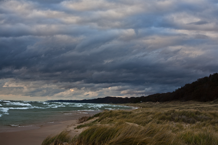 Michigan, Lake, Weather, dramaatic, rain, wind, water, earth, nature, light, sunset, evening,